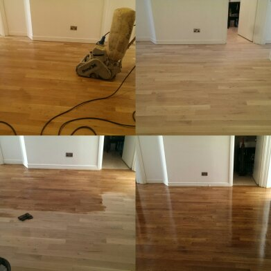 Hard wood Floor Sanding and Refinishing with a Georgian Medium oak stain