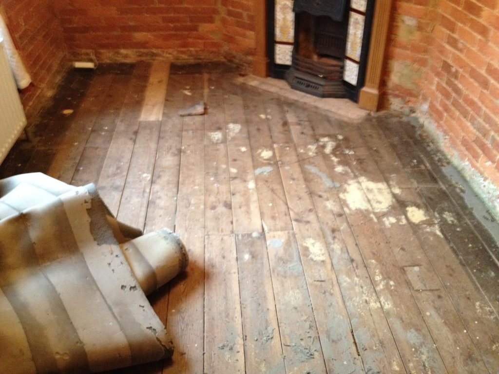 Wooden Floor Sanding, with Fire Hearth Removal
