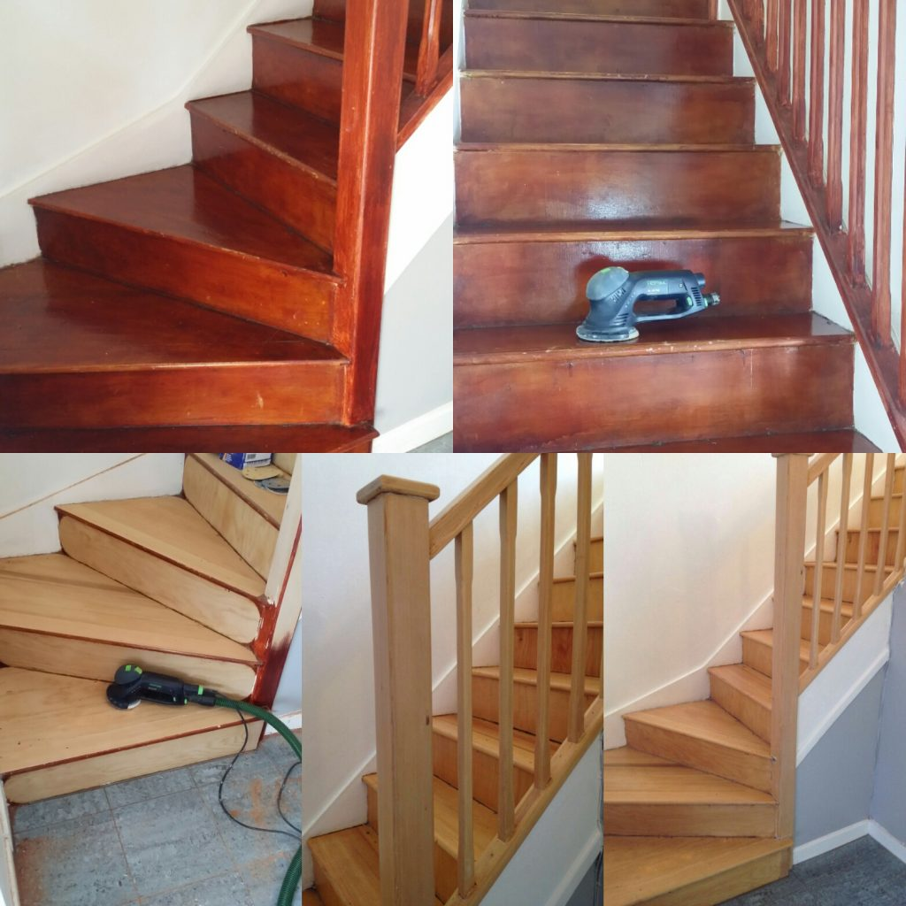 Stair case sanding and refinishing